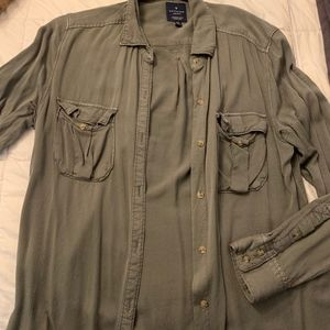 Olive Green Button Up Shirt